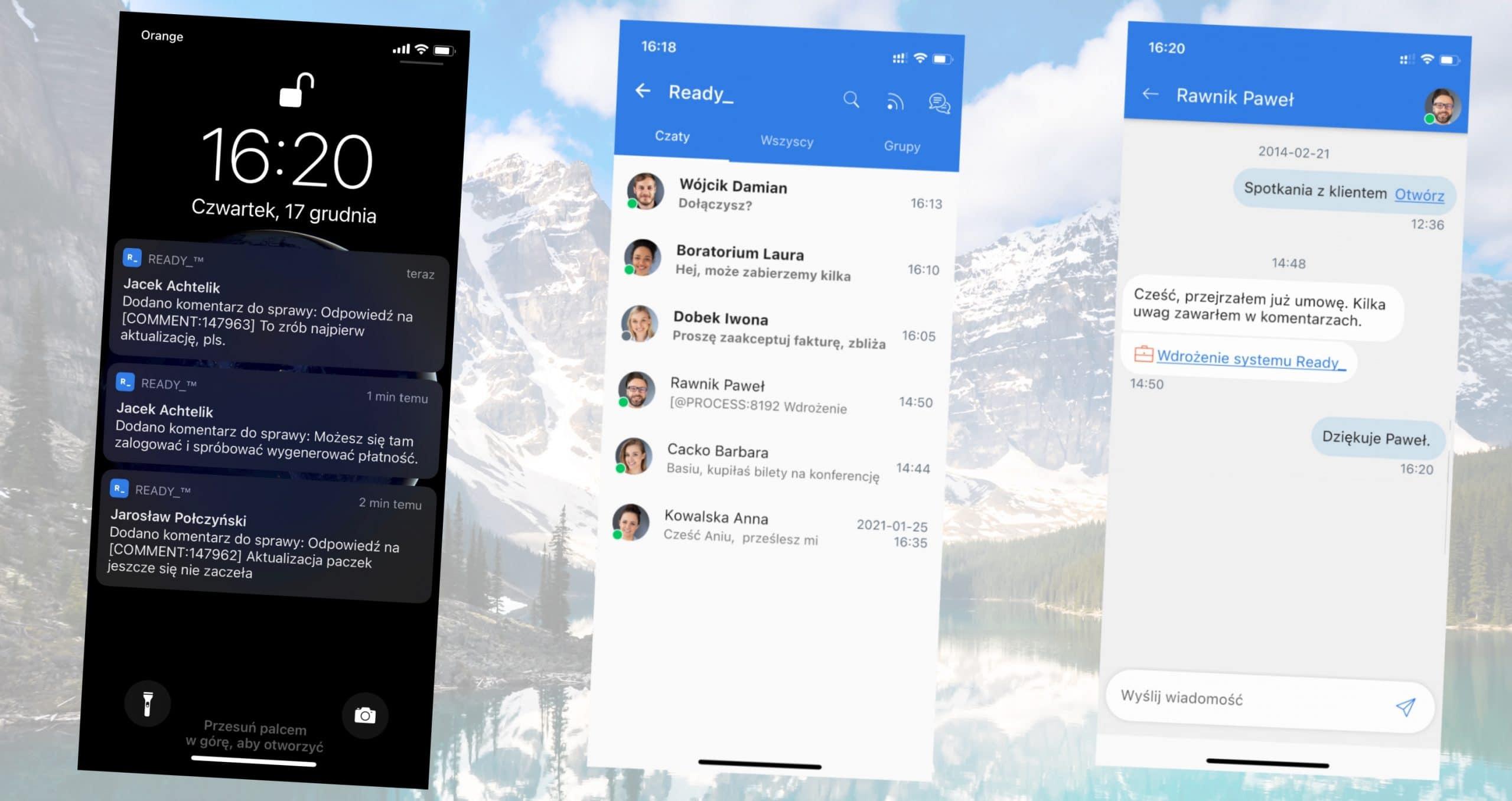 Screenshot z aplikacji mobilnej Ready