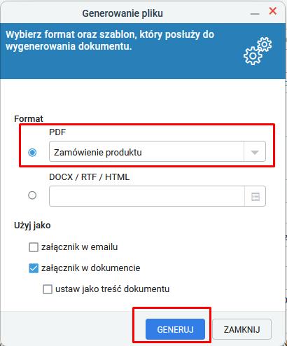 Generowanie zamówienia w formacie PDF.